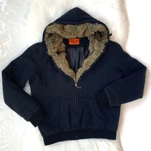 Juicy Couture Fur Trim Zip Up Hoodie Sweater